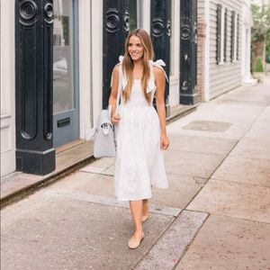 H&M Midi Dress with Eyelet Embroidery Tie Shoulder